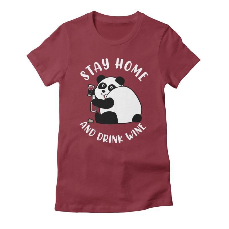 Panda Drinks Wine Women's T-Shirt by GED WORKS