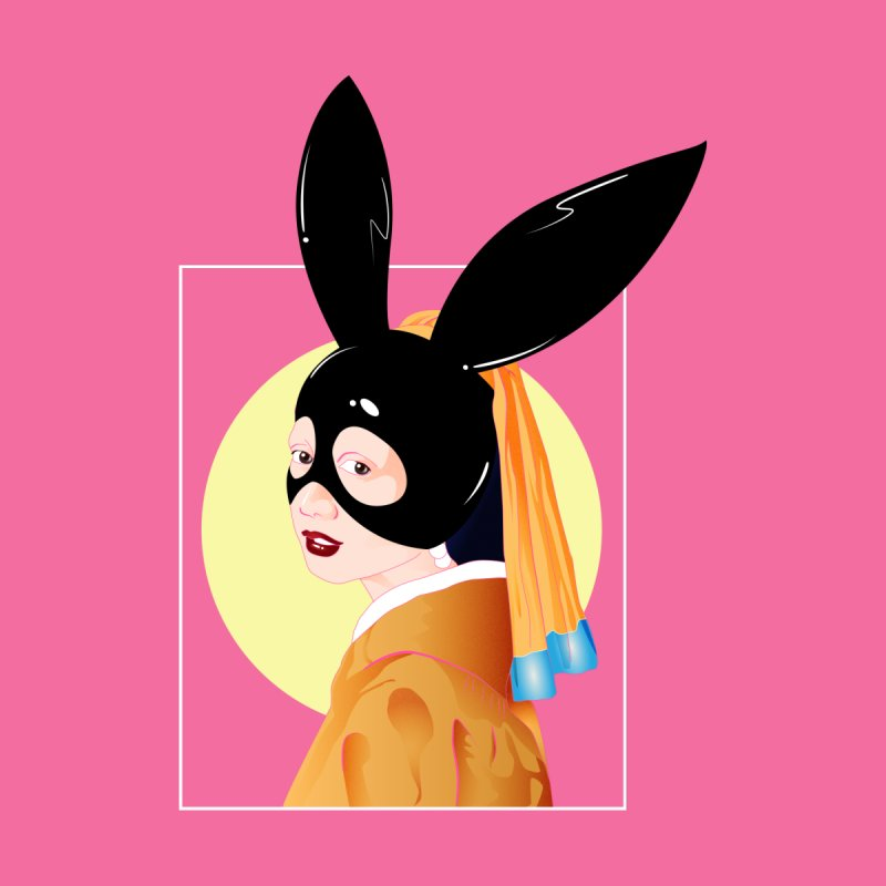 The Girl with a Black Rabbit Mask Kids Pullover Hoody by GED WORKS