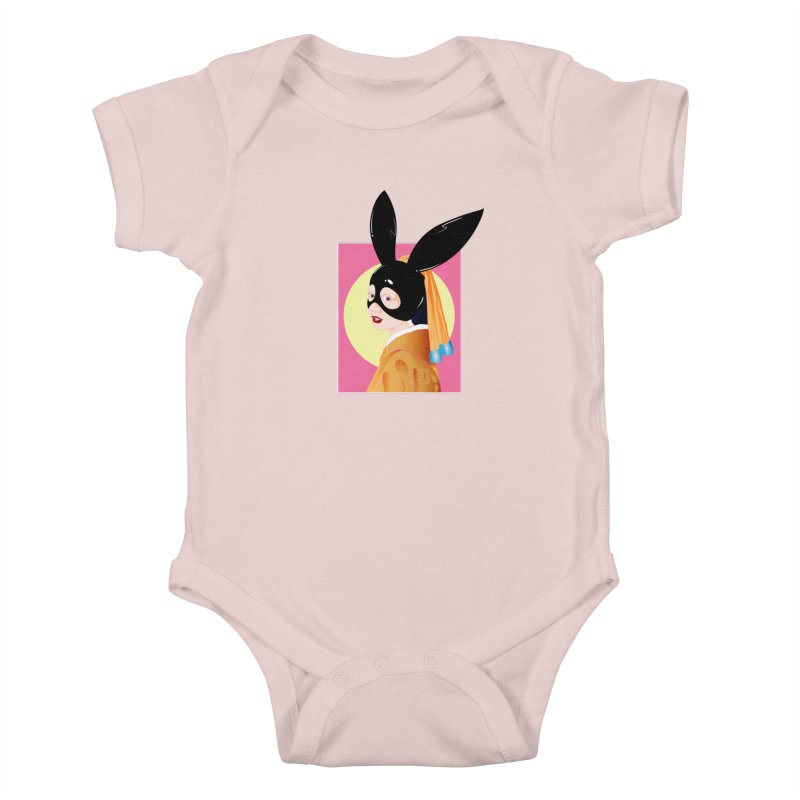 The Girl with a Black Rabbit Mask Kids Baby Bodysuit by GED WORKS