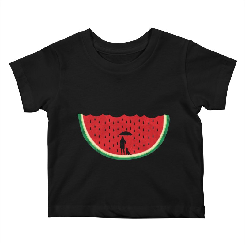 Watermelon Rain Kids Baby T-Shirt by GED WORKS