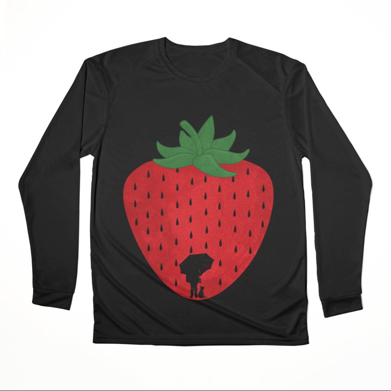 Strawberry Rain Women's Longsleeve T-Shirt by GED WORKS