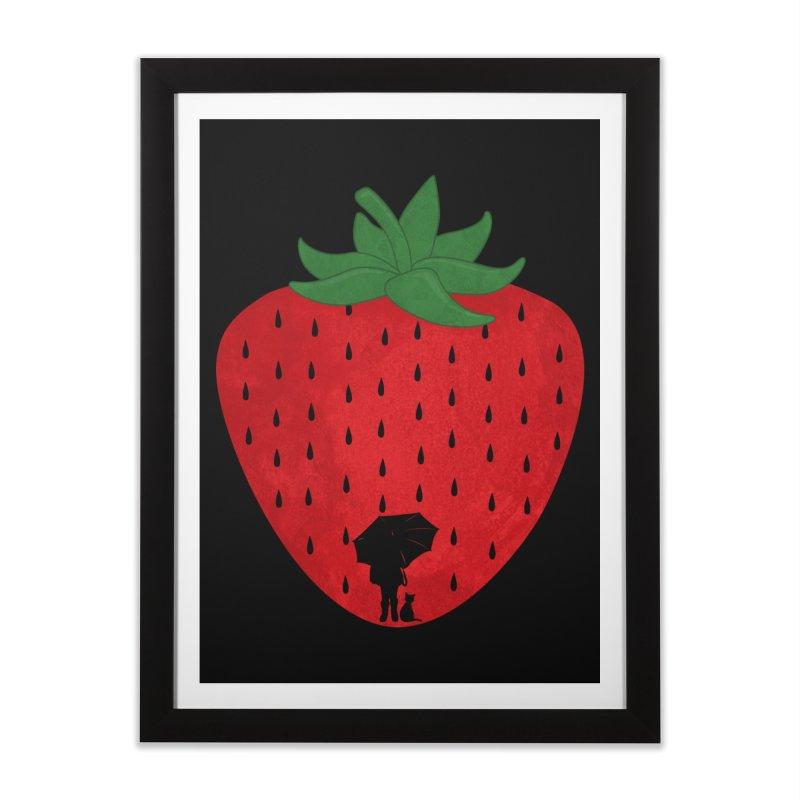 Strawberry Rain Home Framed Fine Art Print by GED WORKS