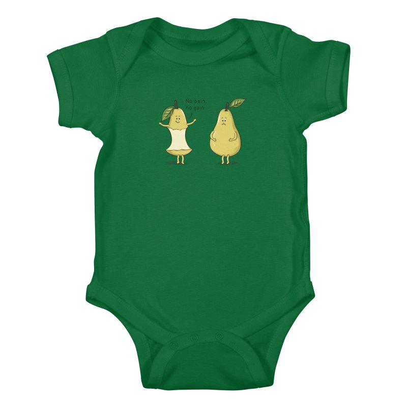 No Pain No Gain Kids Baby Bodysuit by GED WORKS