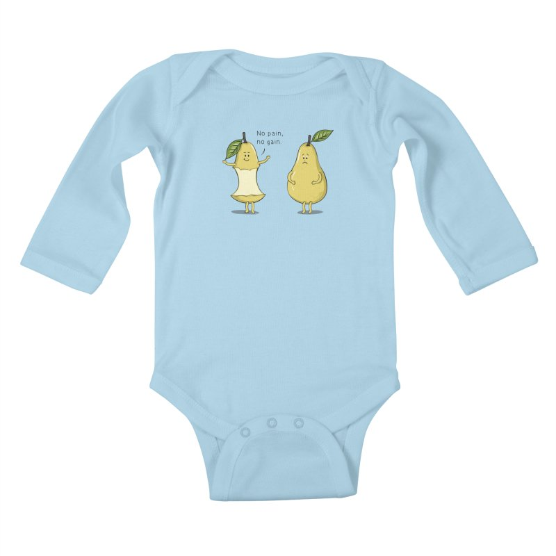 No Pain No Gain Kids Baby Longsleeve Bodysuit by GED WORKS