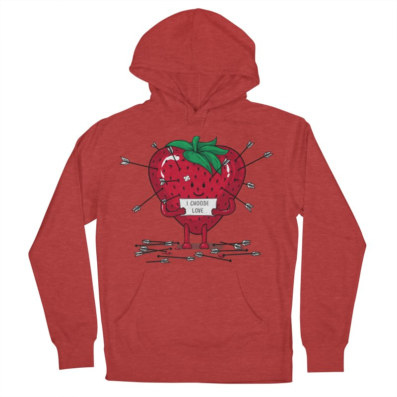 Strawberry Love Women's French Terry Pullover Hoody by GED WORKS
