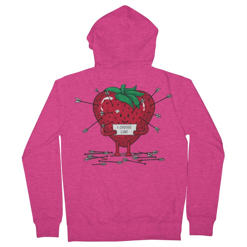 Strawberry Love Women's French Terry Zip-Up Hoody by GED WORKS