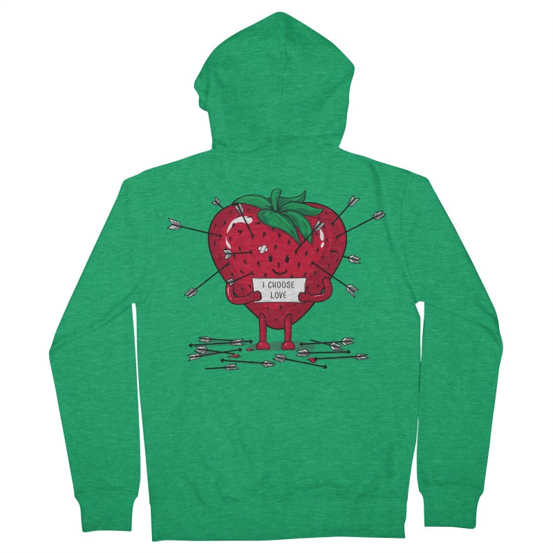 Strawberry Love Men's Zip-Up Hoody by GED WORKS