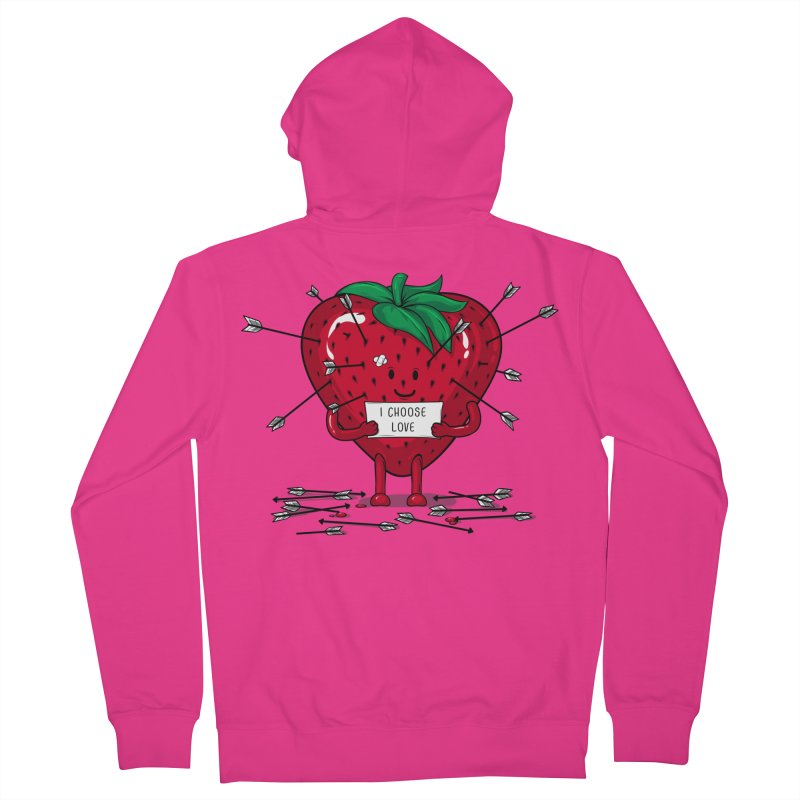 Strawberry Love Men's French Terry Zip-Up Hoody by GED WORKS