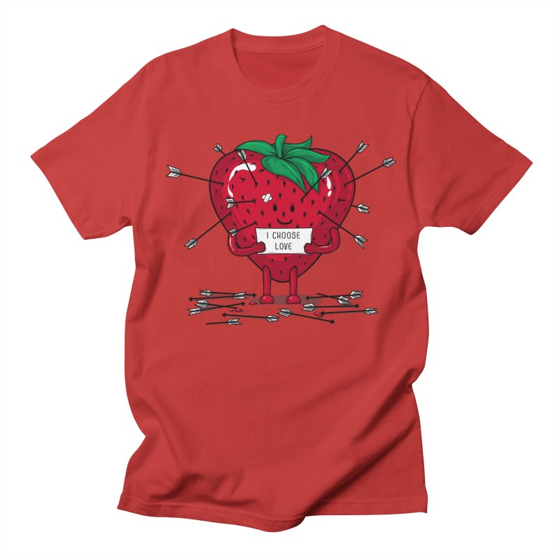 Strawberry Love Women's Regular Unisex T-Shirt by GED WORKS