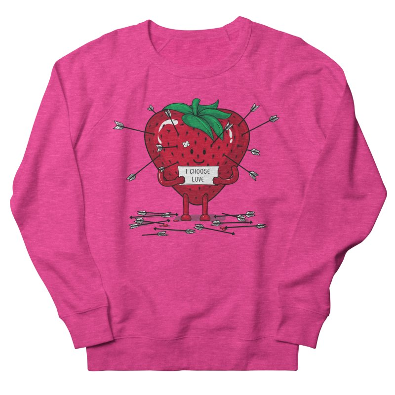 Strawberry Love Men's French Terry Sweatshirt by GED WORKS