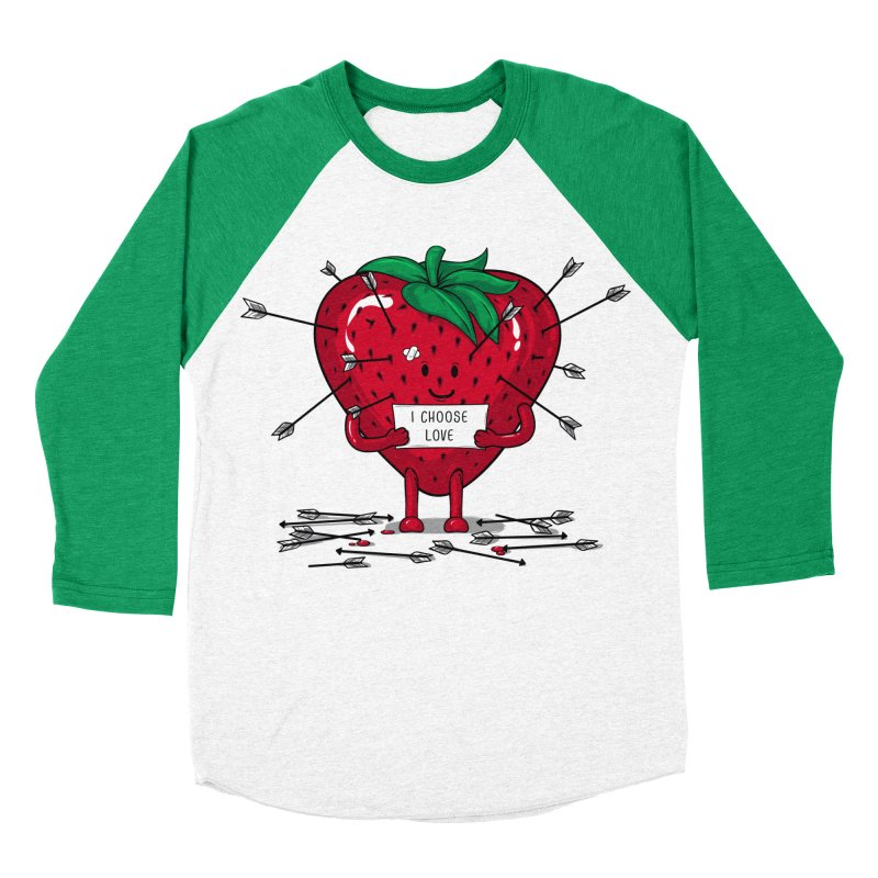 Strawberry Love Women's Baseball Triblend Longsleeve T-Shirt by GED WORKS