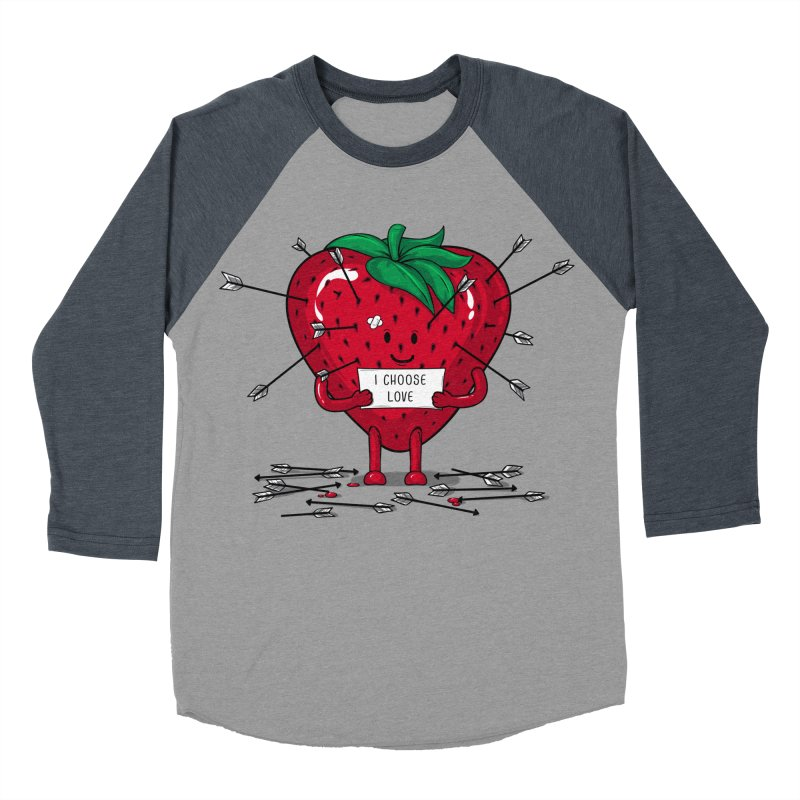 Strawberry Love Women's Baseball Triblend T-Shirt by GED WORKS