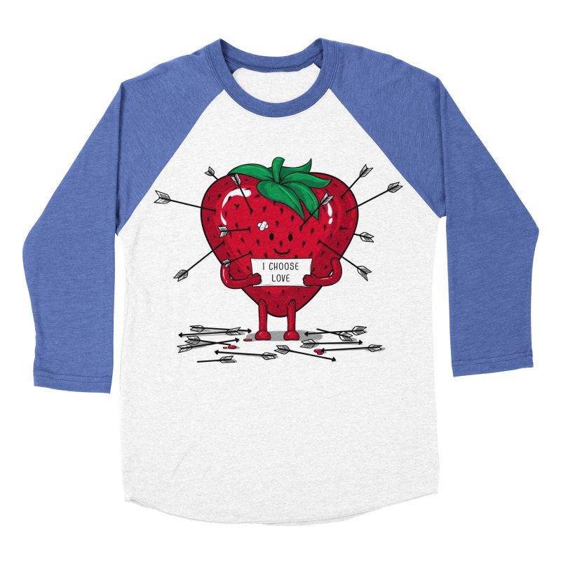 Strawberry Love Men's Baseball Triblend Longsleeve T-Shirt by GED WORKS