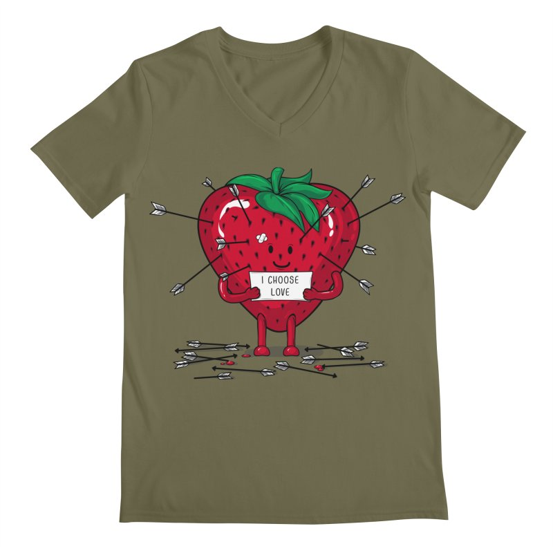 Strawberry Love Men's V-Neck by GED WORKS