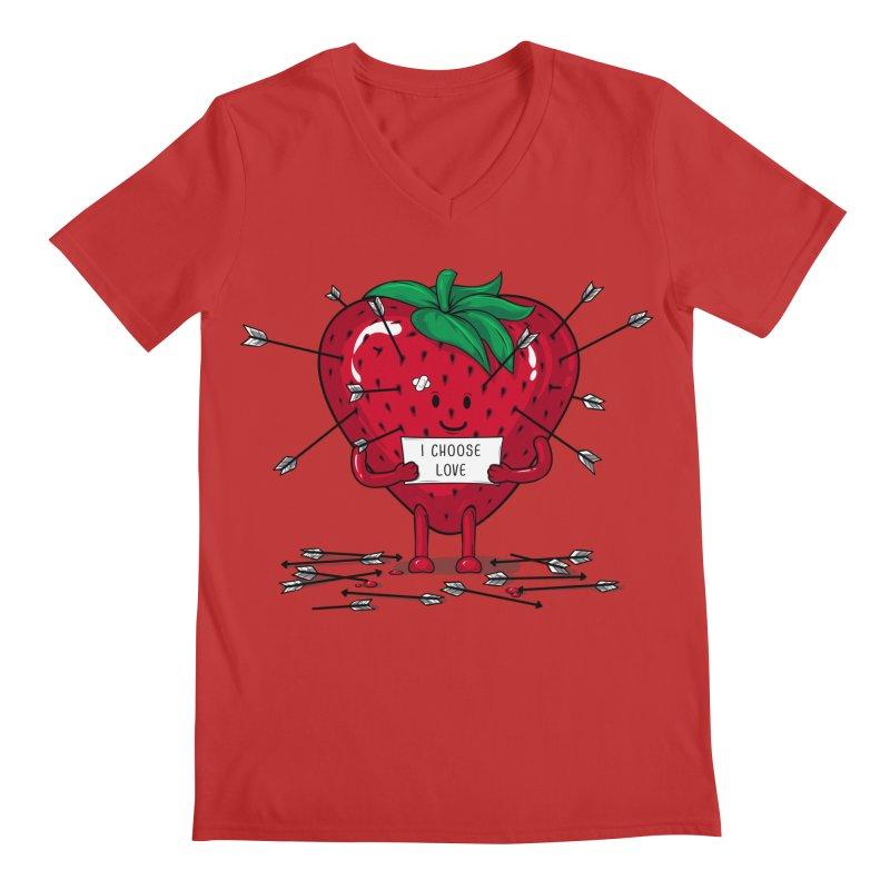 Strawberry Love Men's Regular V-Neck by GED WORKS