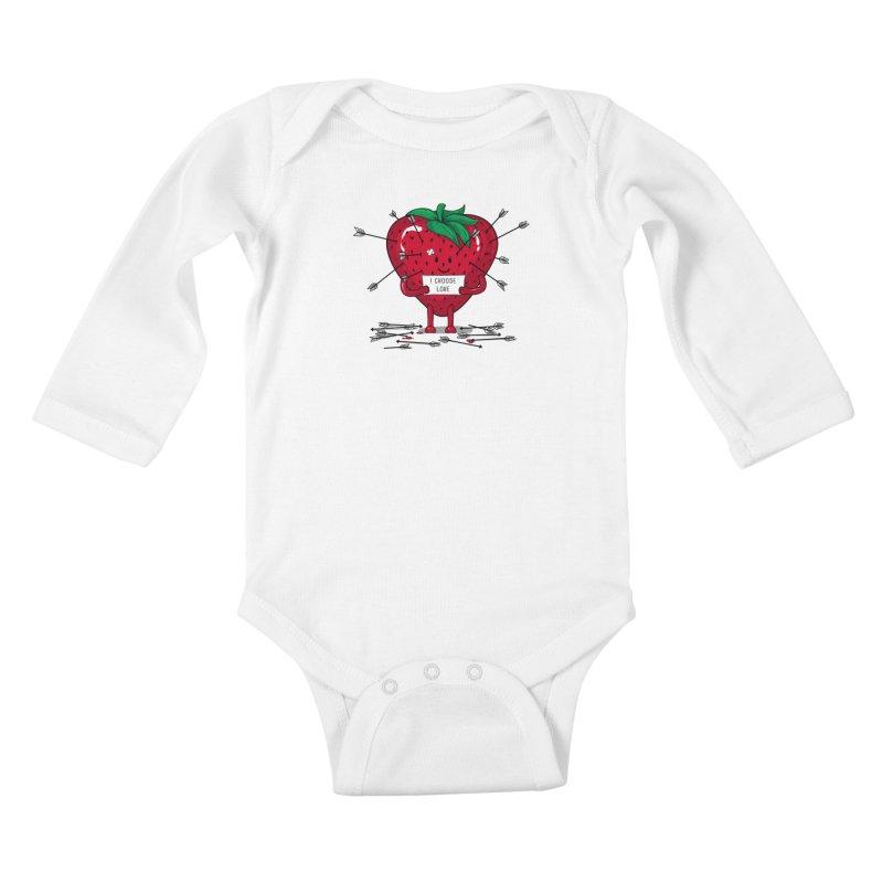 Strawberry Love Kids Baby Longsleeve Bodysuit by GED WORKS