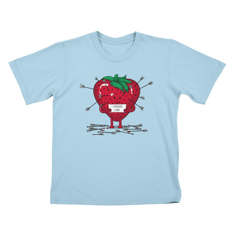 Strawberry Love Kids T-Shirt by GED WORKS