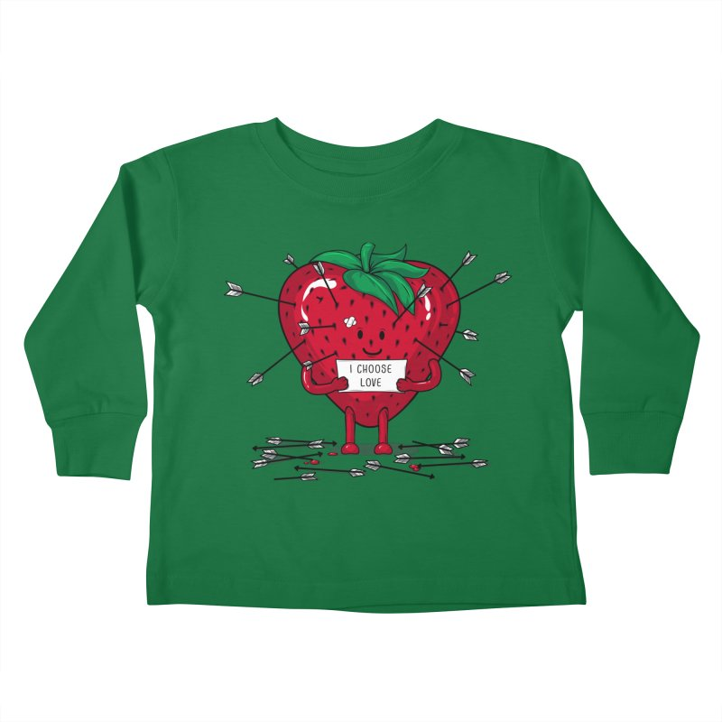 Strawberry Love Kids Toddler Longsleeve T-Shirt by GED WORKS