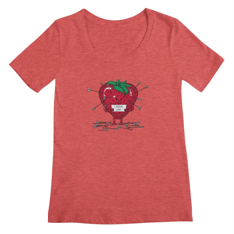 Strawberry Love Women's Scoopneck by GED WORKS