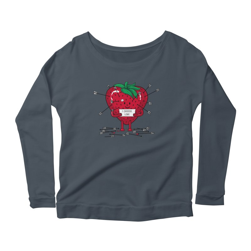 Strawberry Love Women's Longsleeve Scoopneck  by GED WORKS