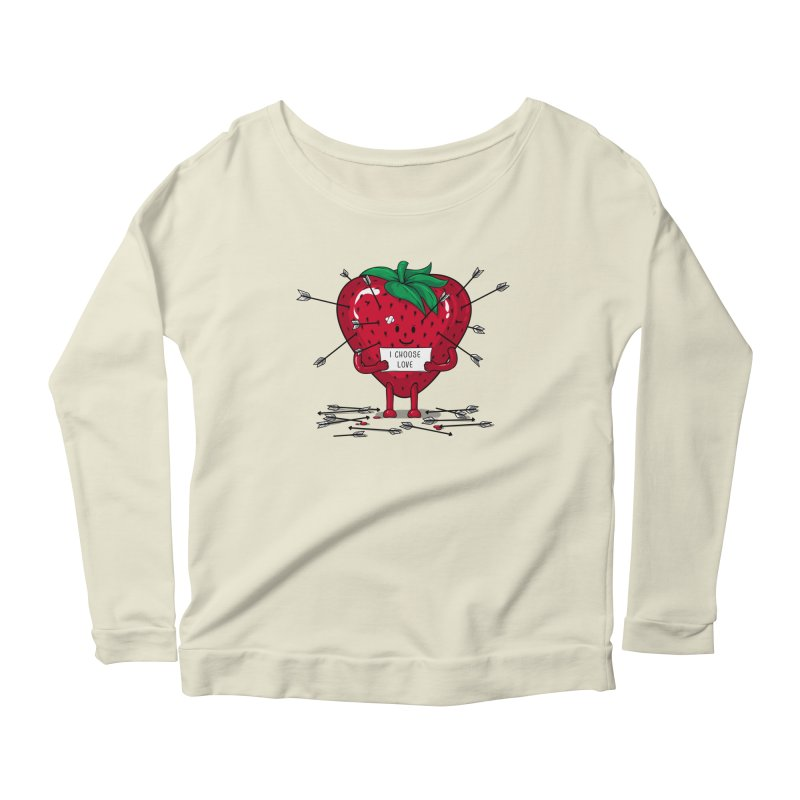 Strawberry Love Women's Longsleeve Scoopneck  by GED WORKS