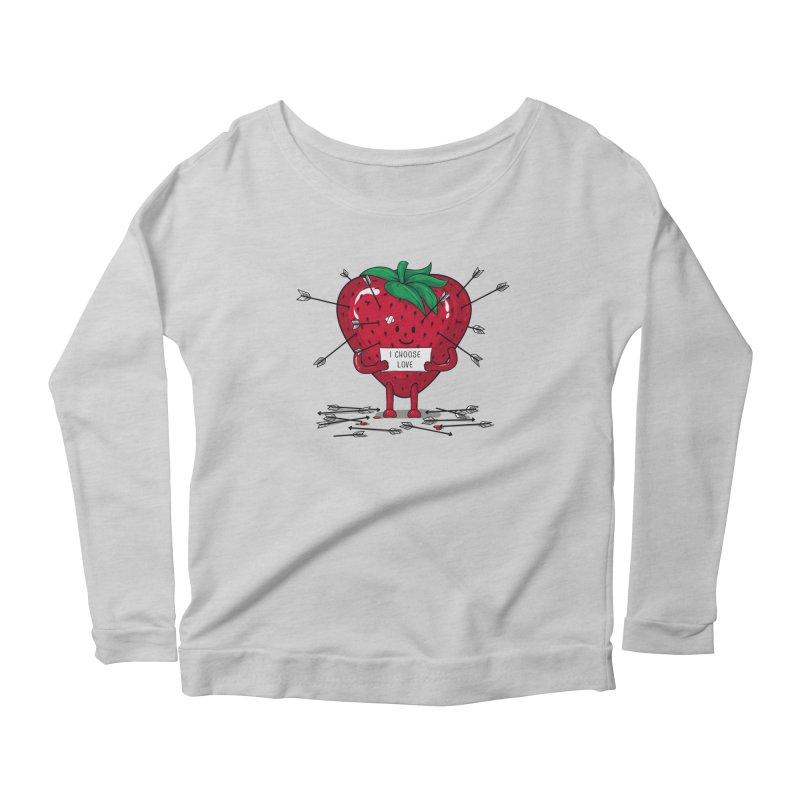 Strawberry Love Women's Scoop Neck Longsleeve T-Shirt by GED WORKS