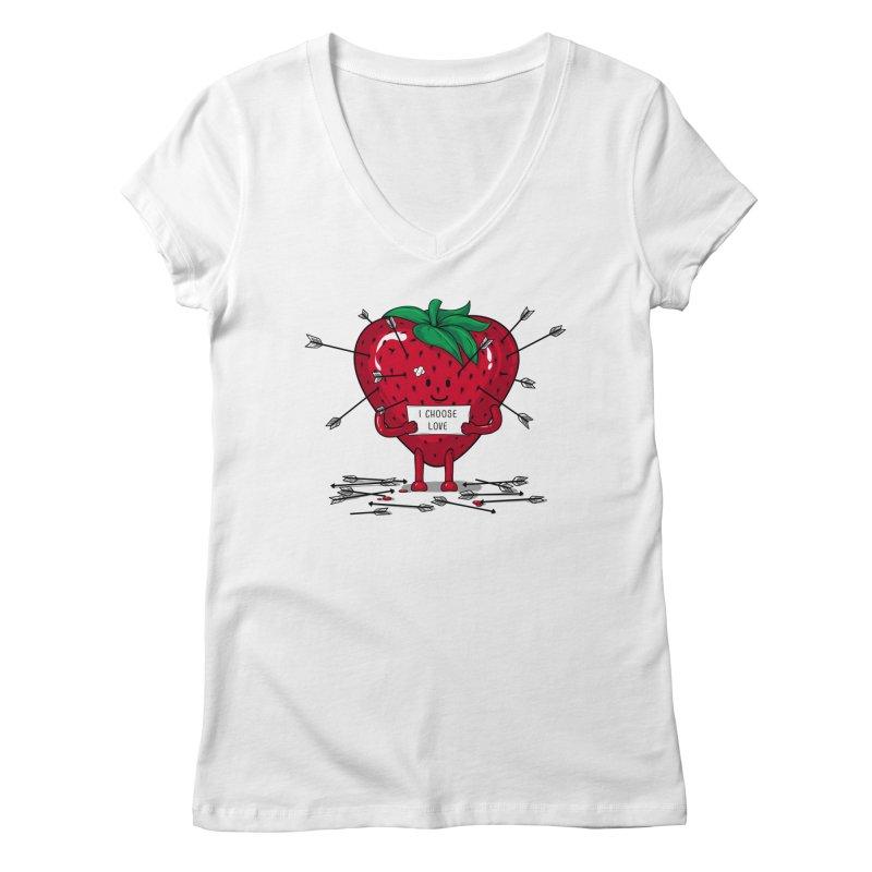 Strawberry Love Women's Regular V-Neck by GED WORKS