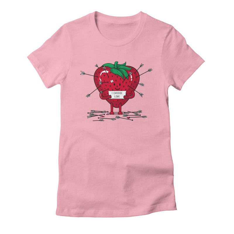 Strawberry Love Women's Fitted T-Shirt by GED WORKS