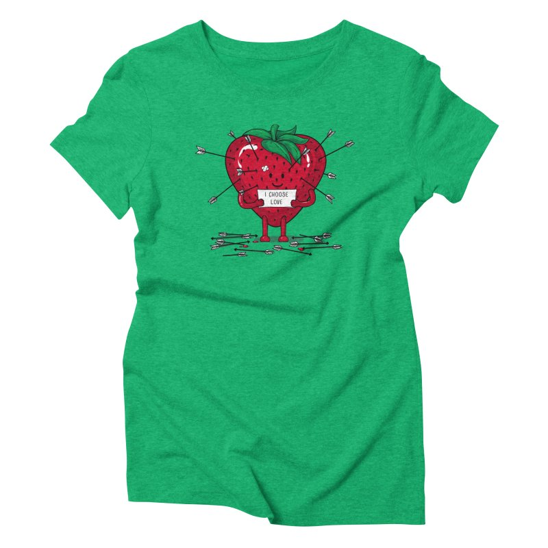 Strawberry Love Women's Triblend T-shirt by GED WORKS