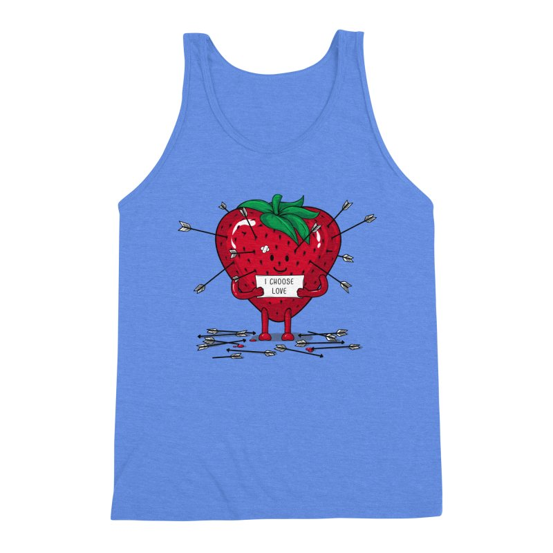 Strawberry Love Men's Triblend Tank by GED WORKS