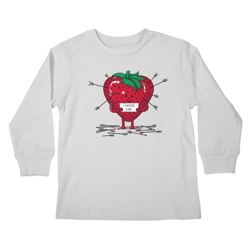 Strawberry Love Kids Longsleeve T-Shirt by GED WORKS