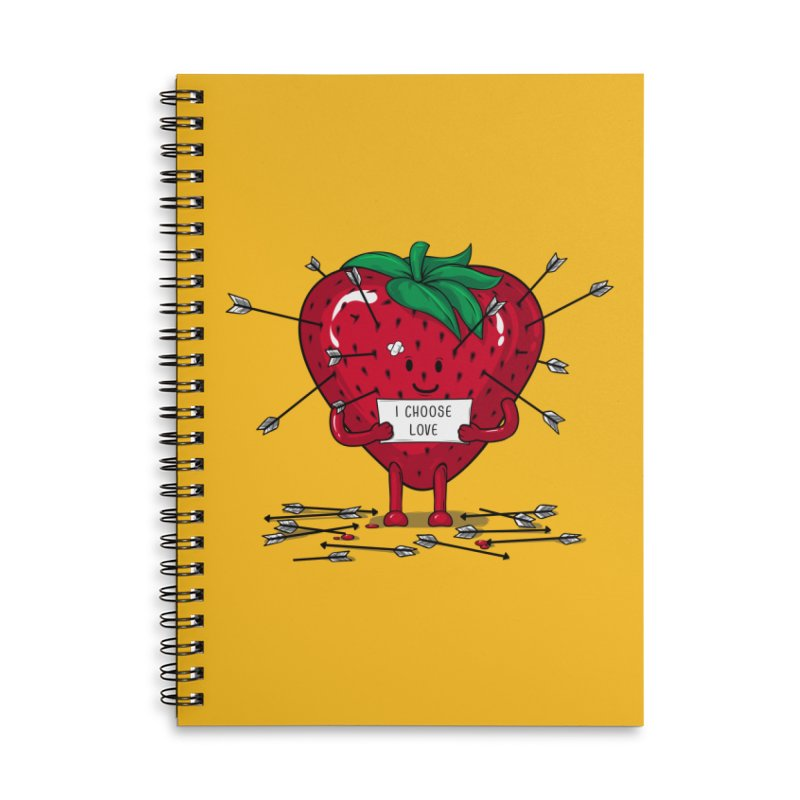 Strawberry Love Accessories Lined Spiral Notebook by GED WORKS