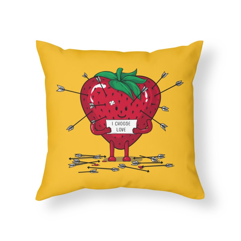 Strawberry Love Home Throw Pillow by GED WORKS