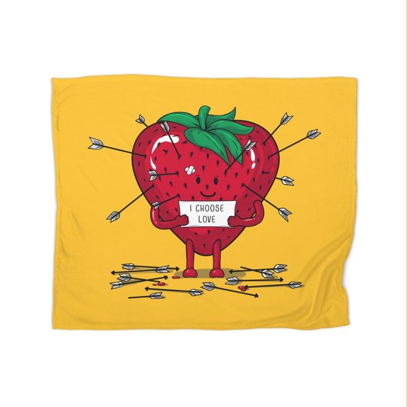 Strawberry Love Home Fleece Blanket Blanket by GED WORKS