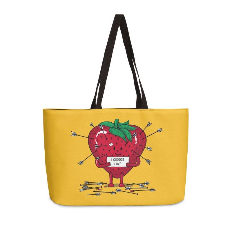 Strawberry Love Accessories Weekender Bag Bag by GED WORKS