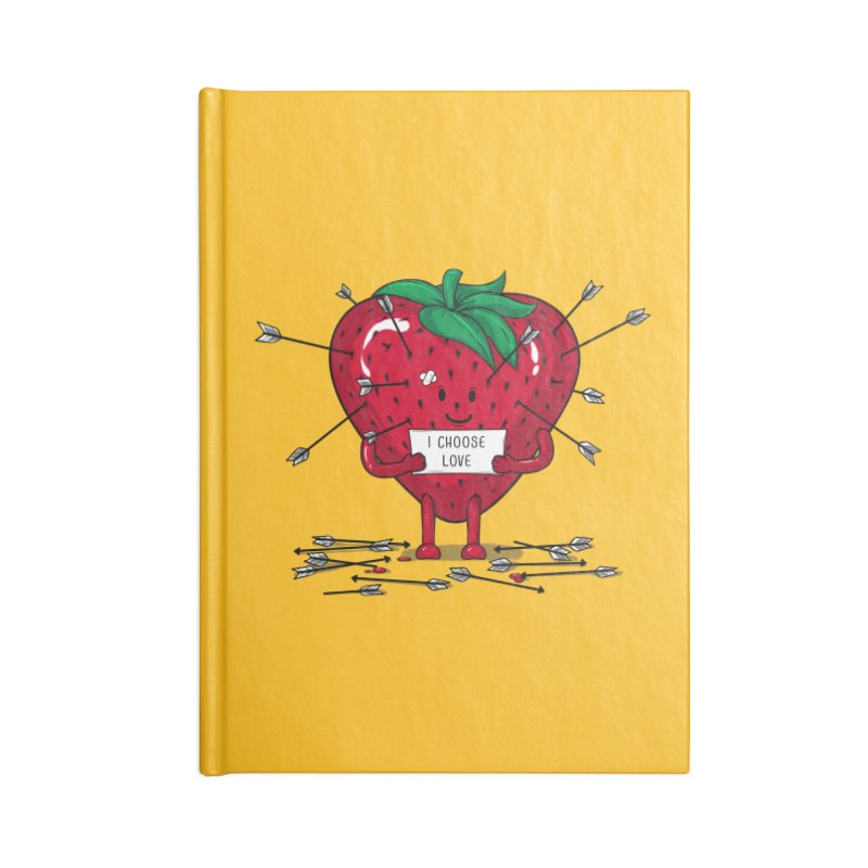 Strawberry Love Accessories Blank Journal Notebook by GED WORKS