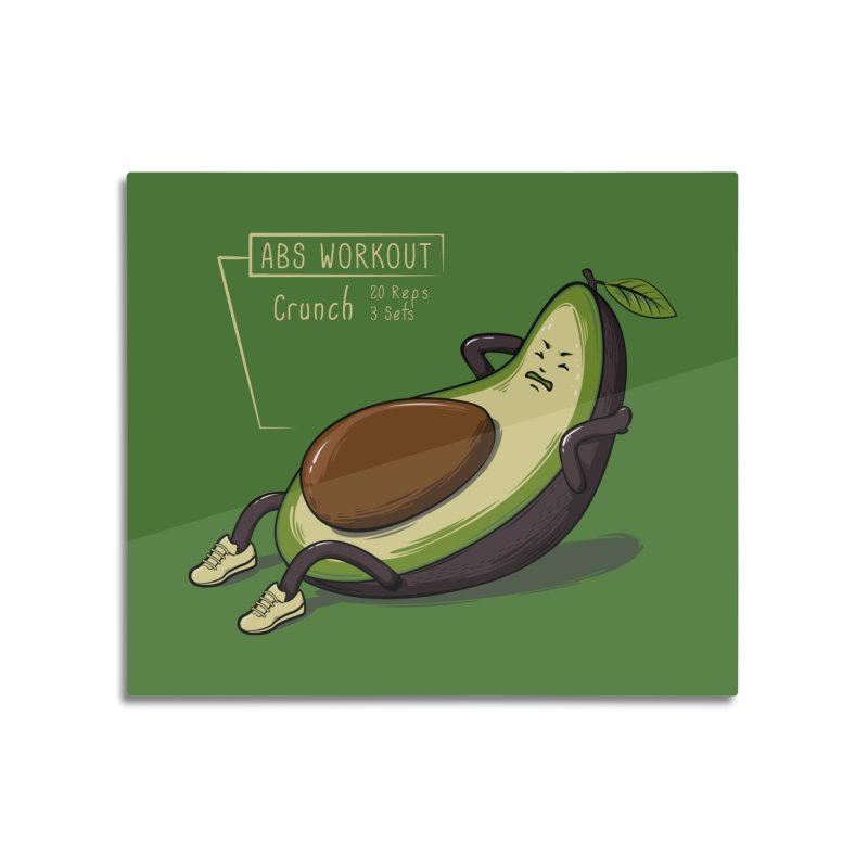 AVOCADO CORE WORKOUT Home Mounted Aluminum Print by GED WORKS