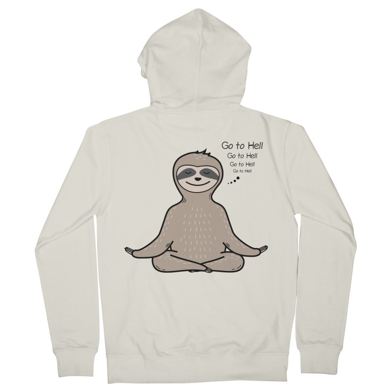 Sloth Meditation Men's French Terry Zip-Up Hoody by GED WORKS