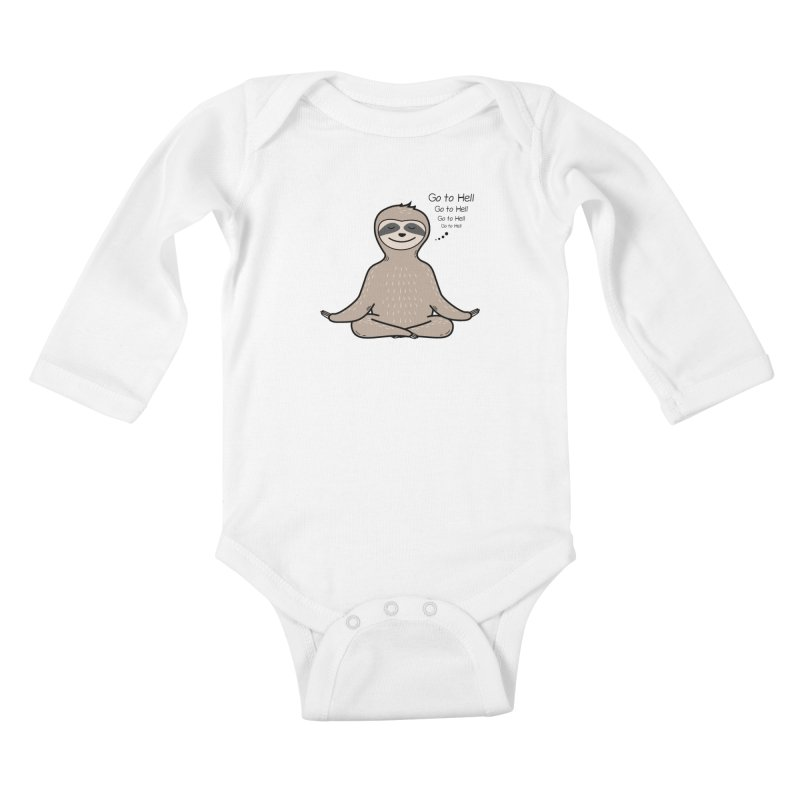 Sloth Meditation Kids Baby Longsleeve Bodysuit by GED WORKS