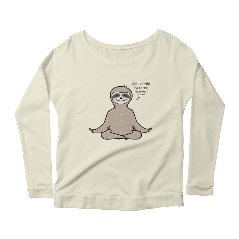 Sloth Meditation Women's Scoop Neck Longsleeve T-Shirt by GED WORKS