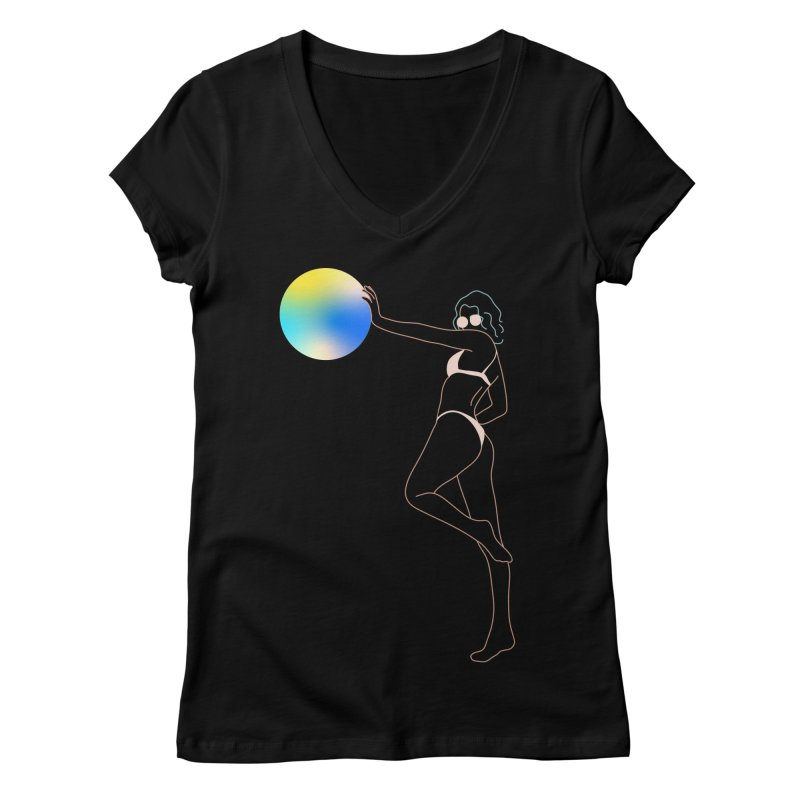 Power Girl Women's Regular V-Neck by gelso's Artist Shop