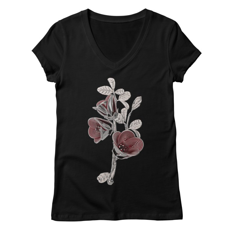 Enchanted Flower I Women's V-Neck by Genius Design Lab's Artist Shop