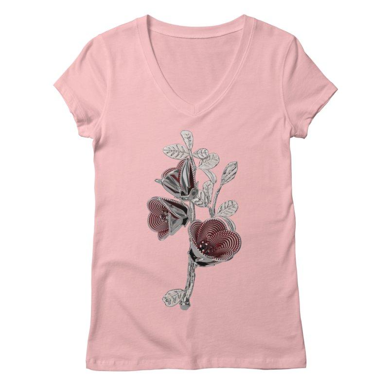 Enchanted Flower I Women's V-Neck by Genius Design Lab's Artist Shop