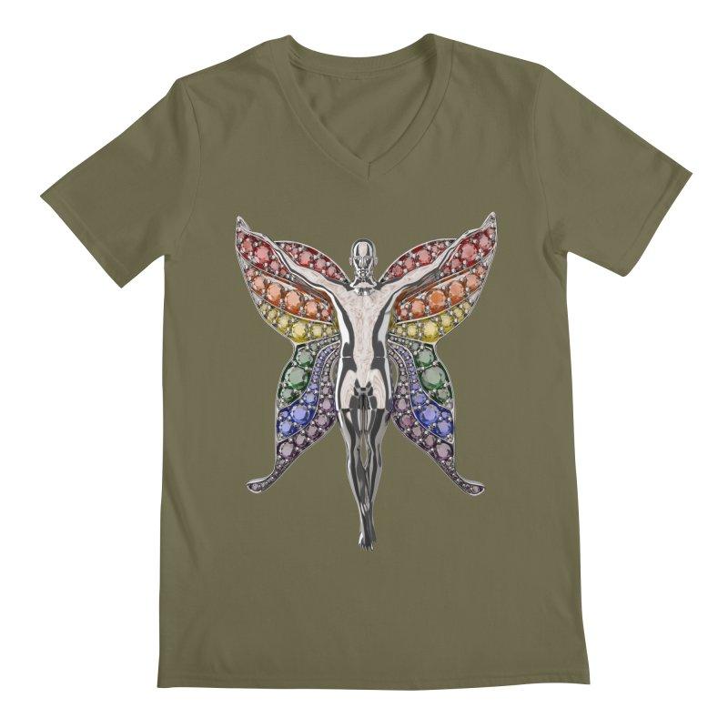 Enchanted Pride Fairy Men's V-Neck by Genius Design Lab's Artist Shop