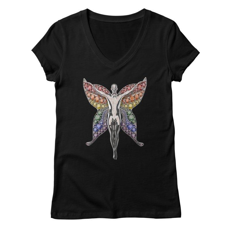 Enchanted Pride Fairy Women's V-Neck by Genius Design Lab's Artist Shop