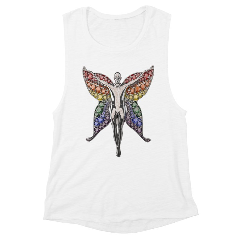 Enchanted Pride Fairy Women's Muscle Tank by Genius Design Lab's Artist Shop