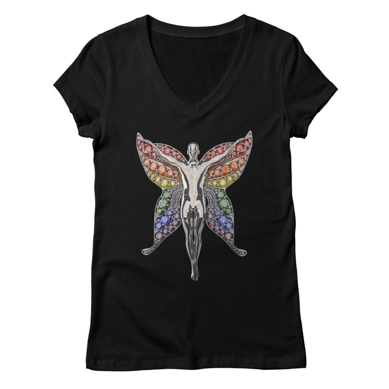 Enchanted Pride Fairy Women's V-Neck by Genius Design Lab's Artist Shop