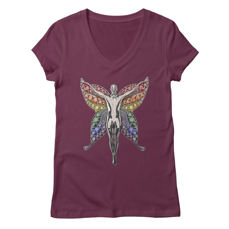 Enchanted Pride Fairy Women's Regular V-Neck by Genius Design Lab's Artist Shop