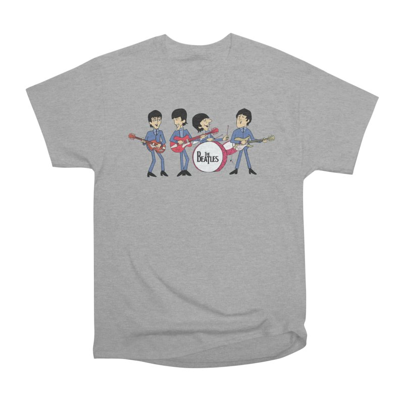 the Cartoon Beatles in Men's Heavyweight T-Shirt Heather Graphite by Geocaching Podcast Store