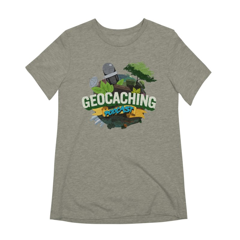 GCPC Logo in Women's Extra Soft T-Shirt Heather Stone by Geocaching Podcast Shop